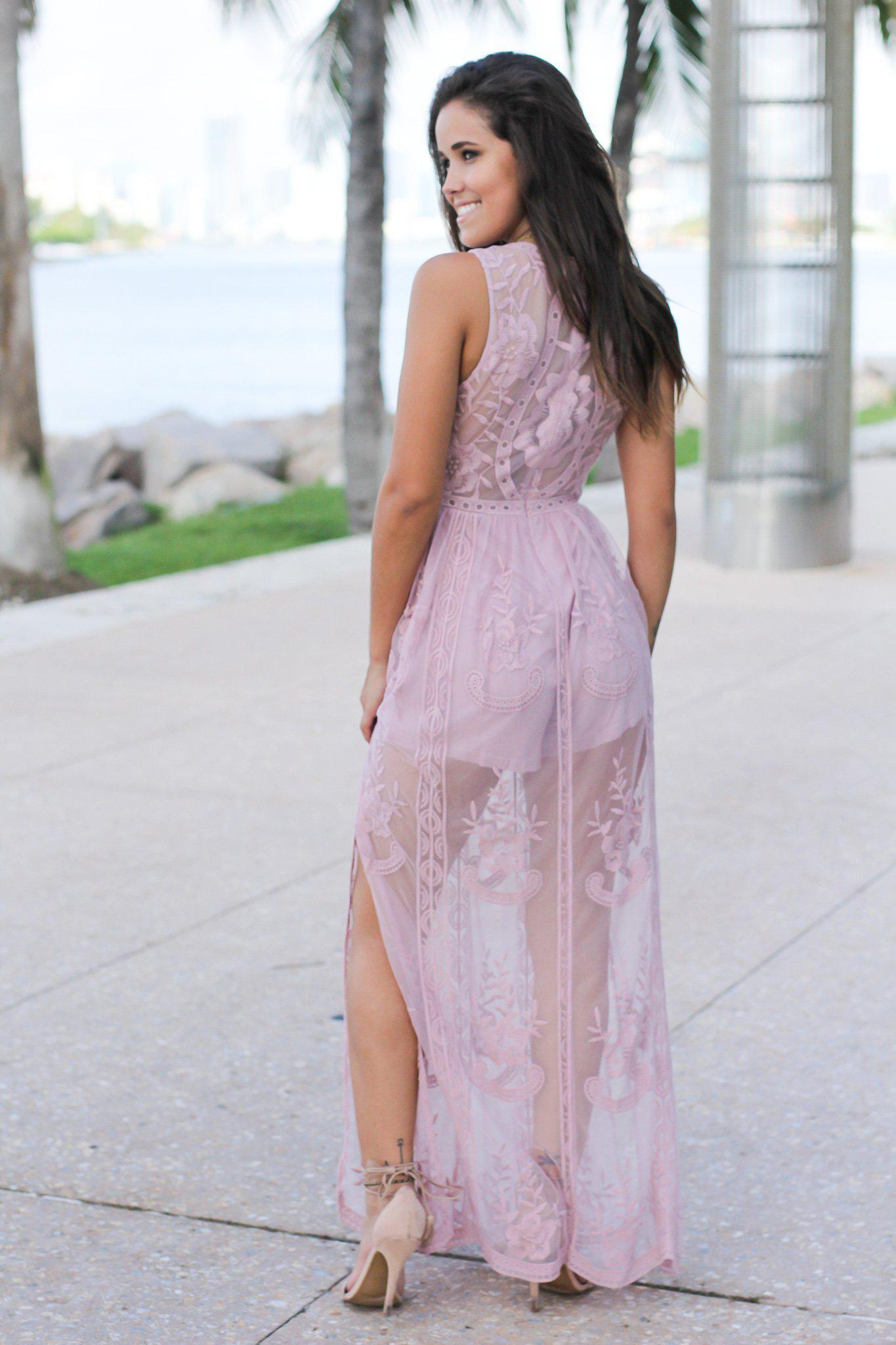 Mauve Lace Sleeveless Maxi Romper