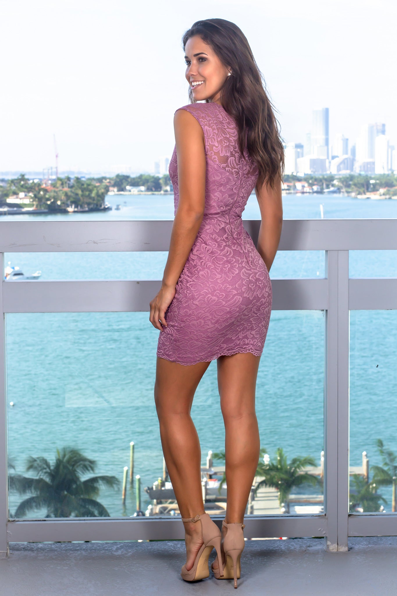 Mauve Lace Sleeveless Short Dress
