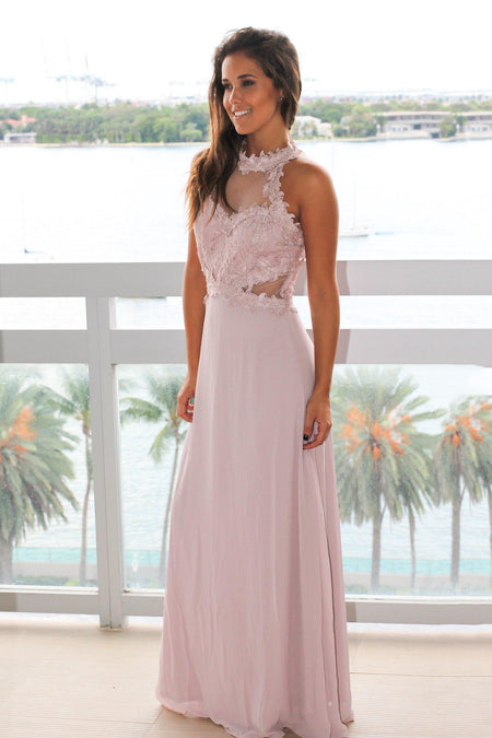 Mauve Lace Top Halter Neck Maxi Dress