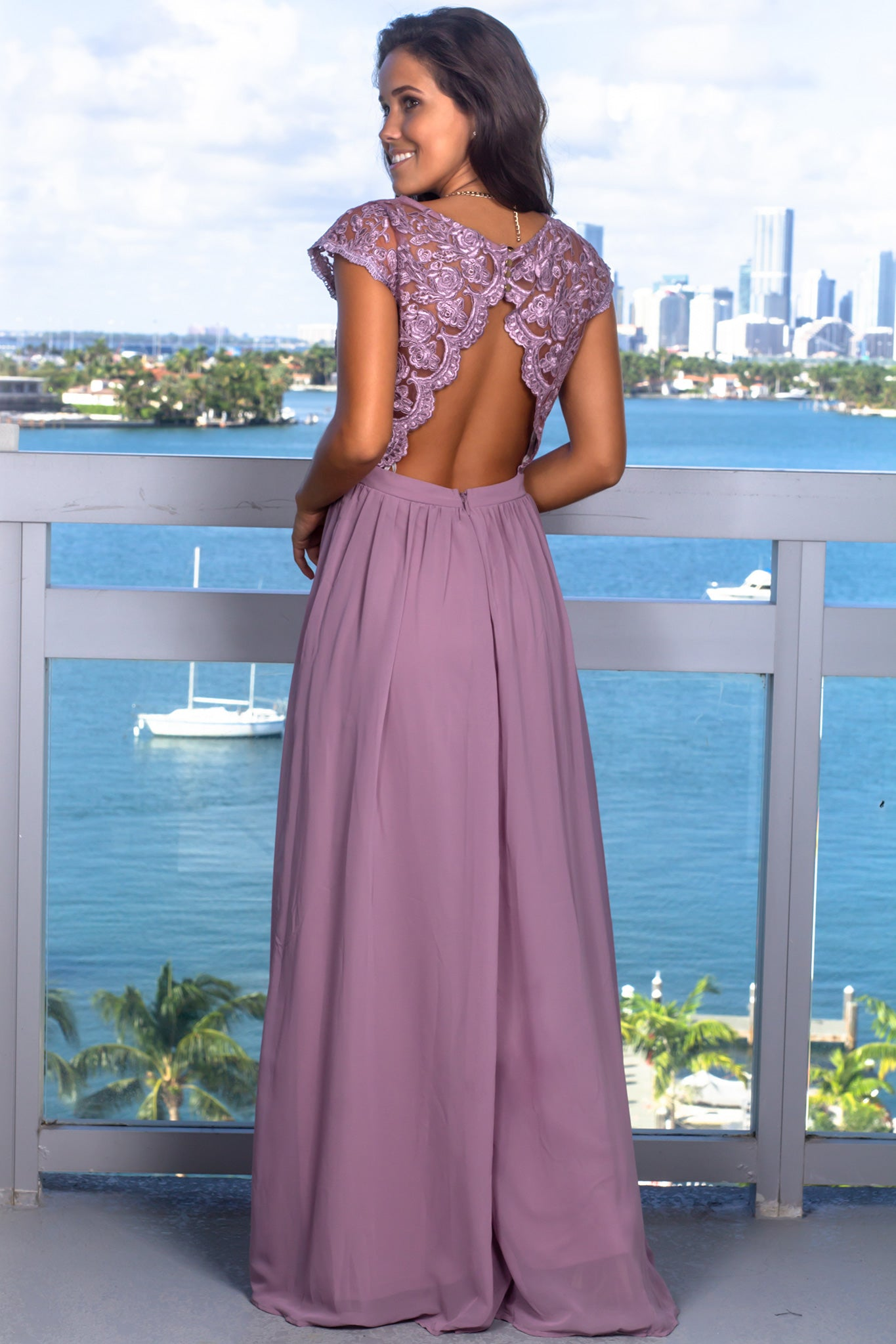 Mauve Lace Top Maxi Dress with Open Back and Side Slit