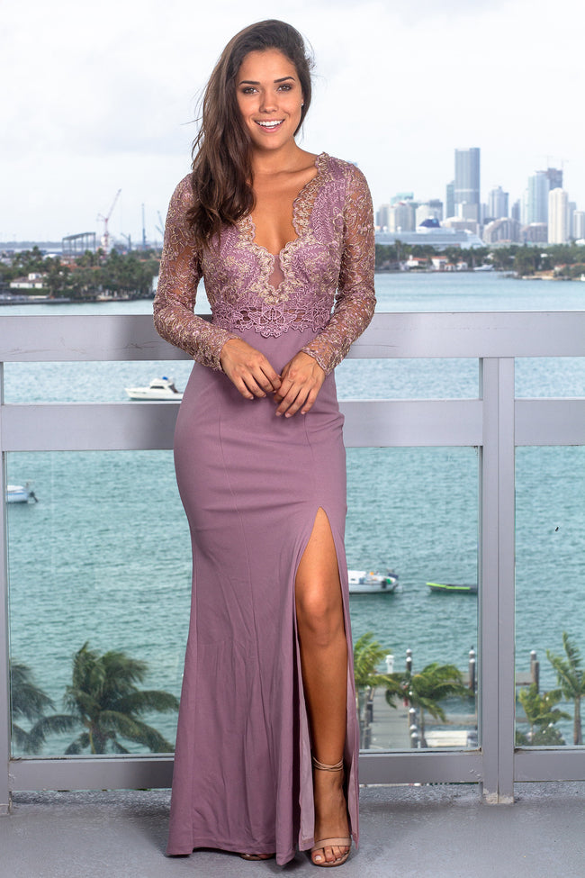 Mauve Long Sleeve Maxi Dress