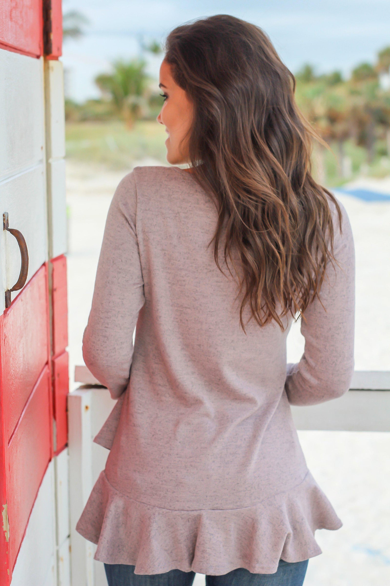 Mauve Long Sleeve Ruffle Top