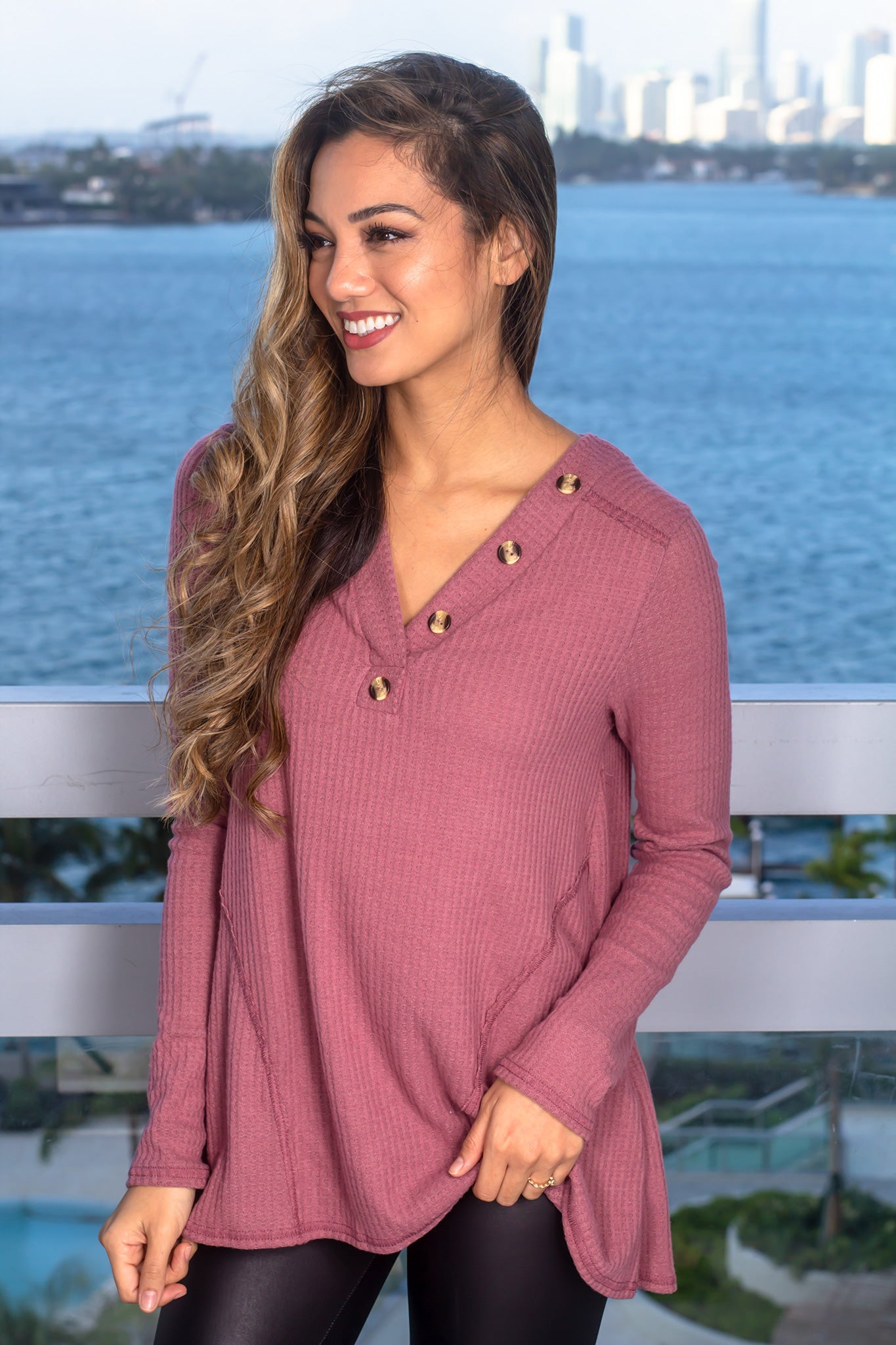 Mauve Long Sleeve Top with Buttons