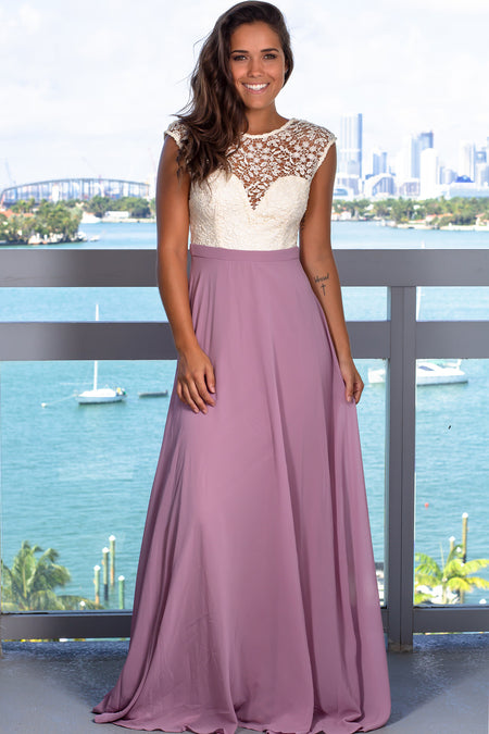 Mauve Maxi Dress with Crochet Top