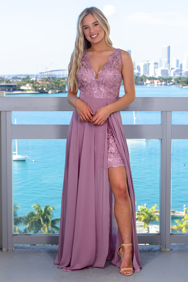 Mauve Maxi Dress with Embroidered Detail