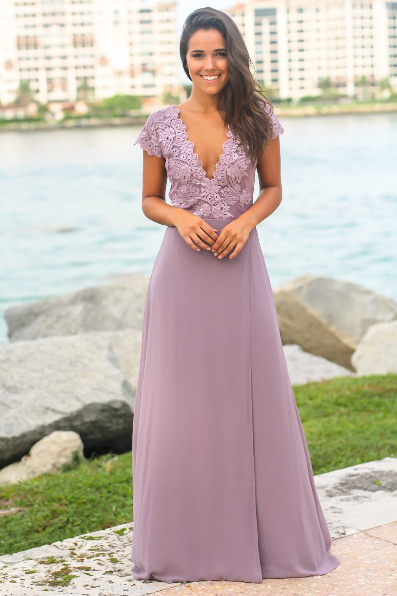 Mauve Maxi Dress with Embroidered Top and Slit