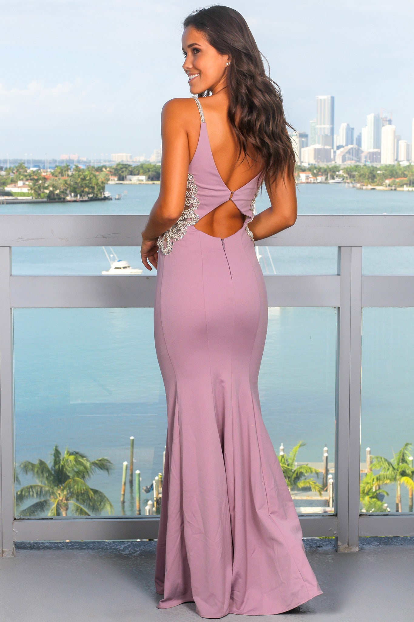 Mauve Maxi Dress with Jeweled Detail