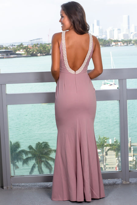 Mauve Maxi Dress with Open Back and Pearl Detail