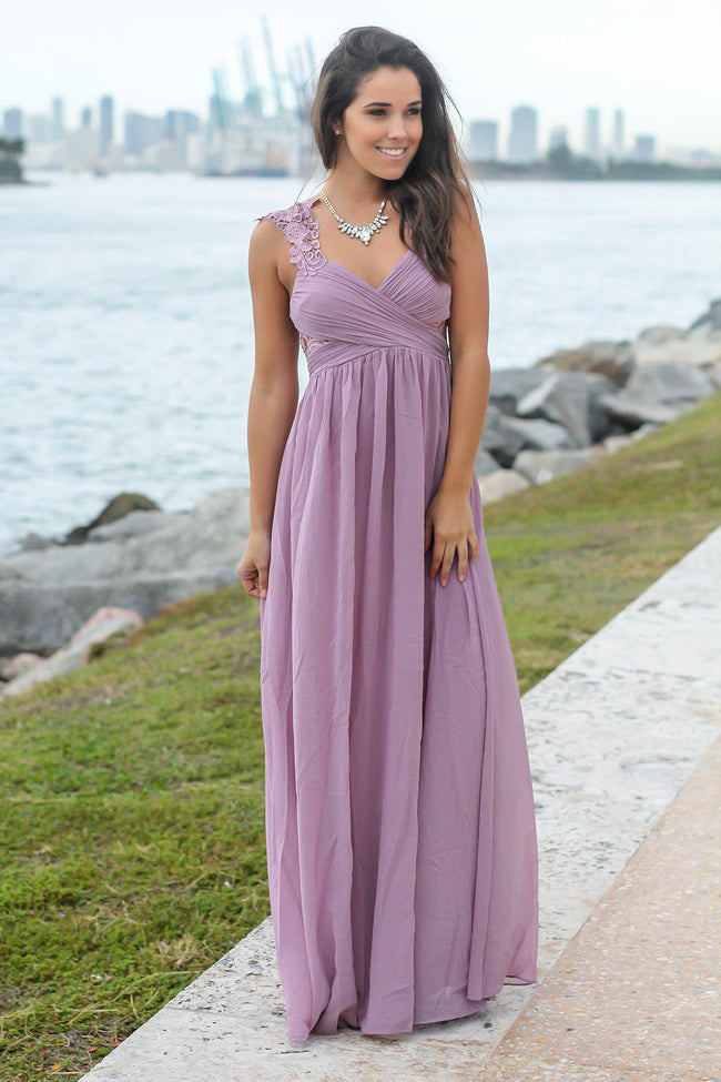 Mauve Maxi Dress with Pleated Top and Crochet Detail