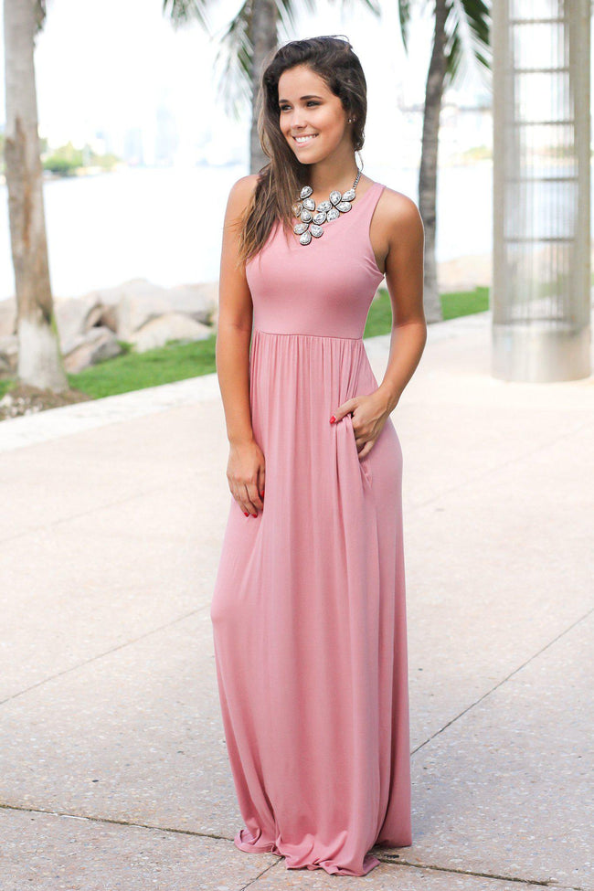 Mauve Maxi Dress with Pockets