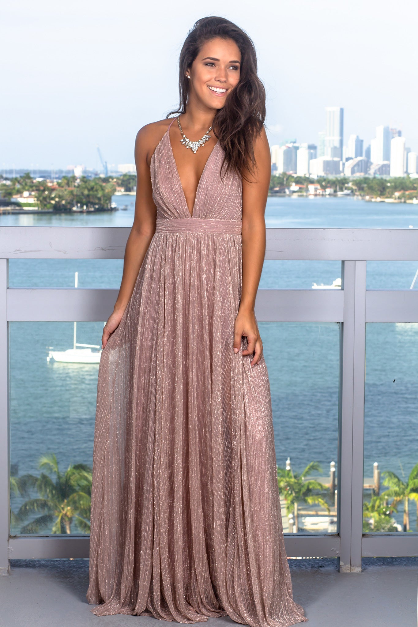 Mauve Maxi Dress With Shimmer Detail Maxi Dresses Saved By The Dress