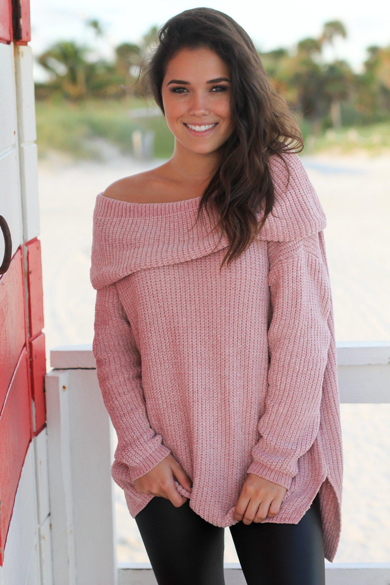 Mauve Off Shoulder Knit Sweater