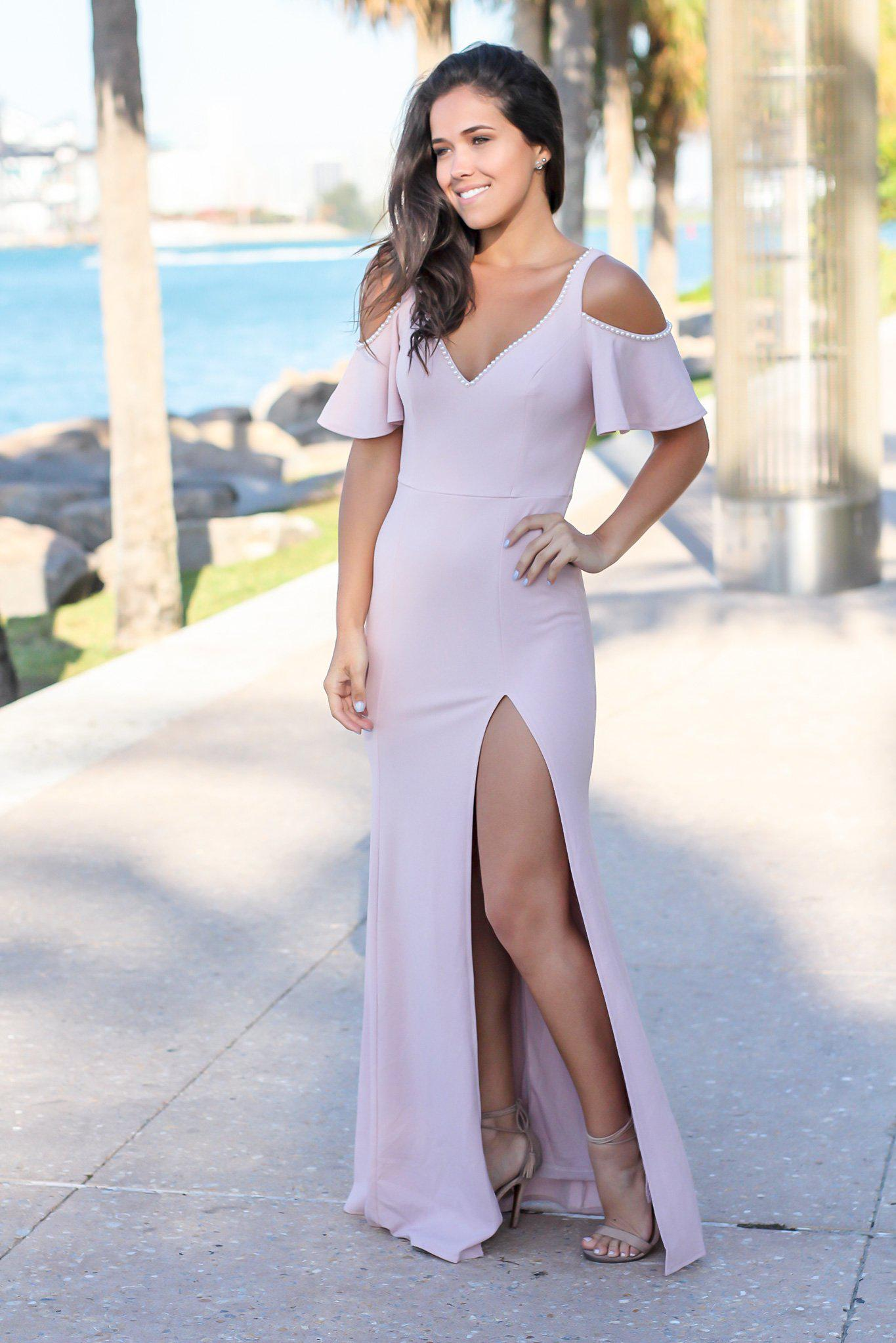 Mauve Off Shoulder Maxi Dress with Side Slit and Pearl Detail