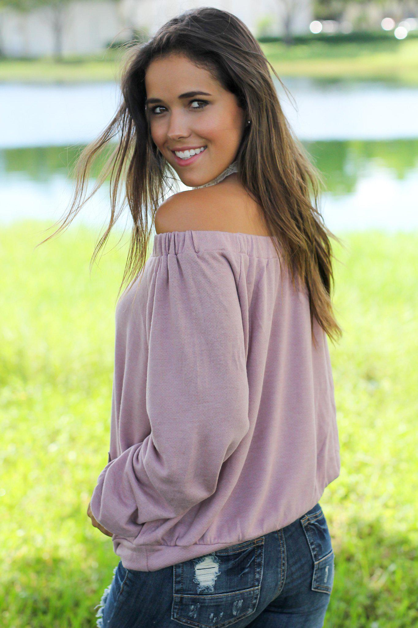 Mauve Off Shoulder Sweater with Pocket