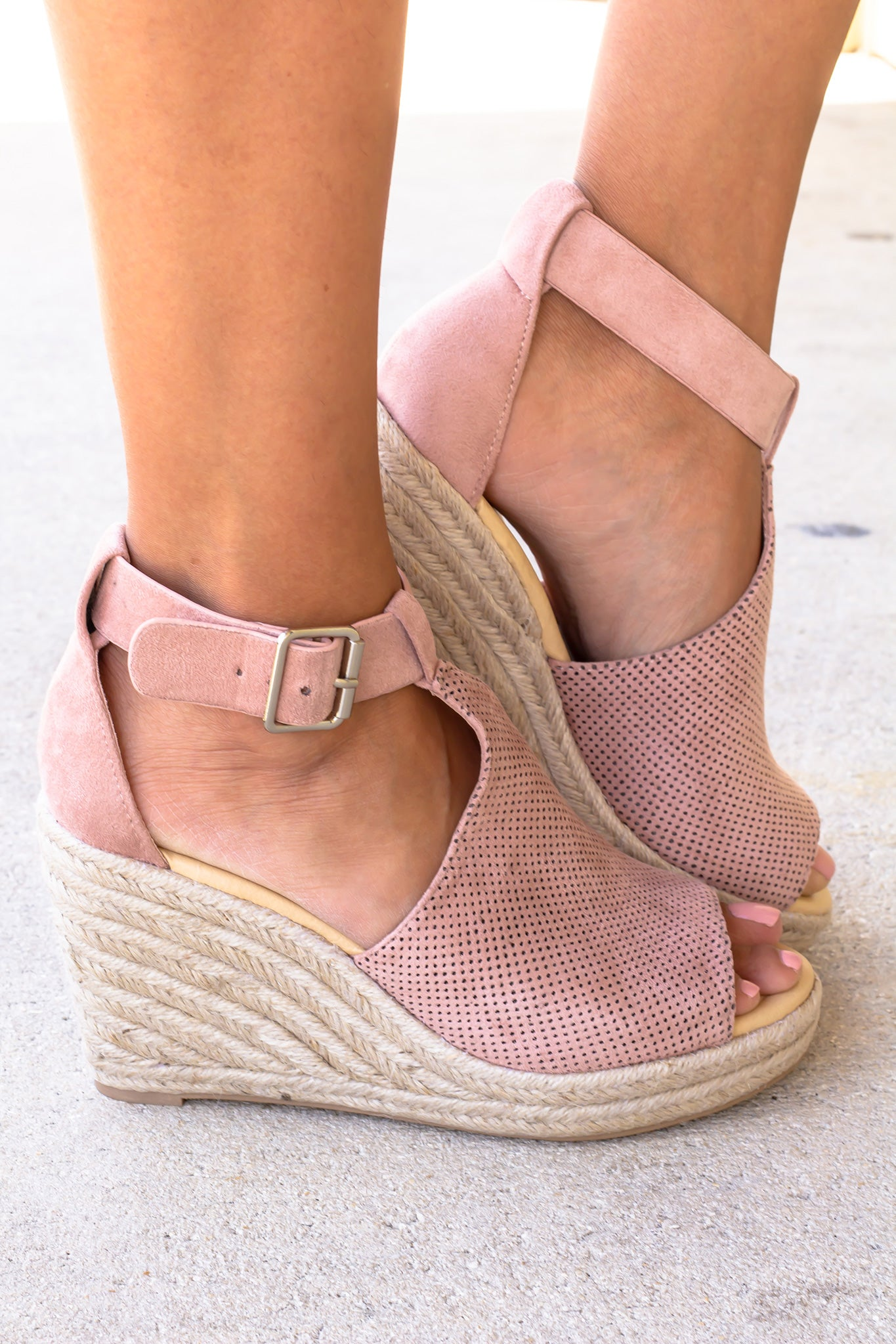Mauve Open Toe Wedges