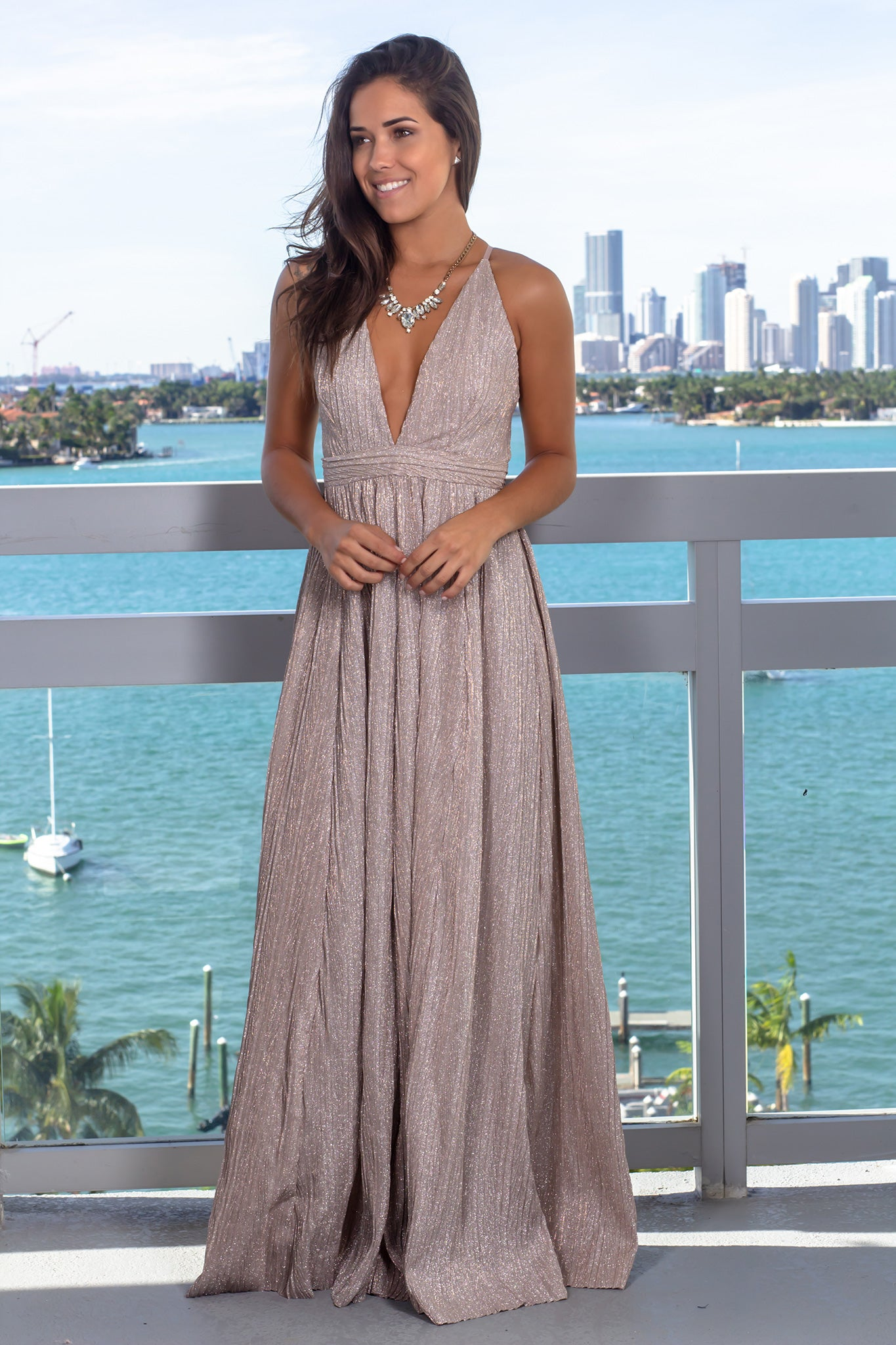 Mauve Pleated Shimmer Maxi Dress