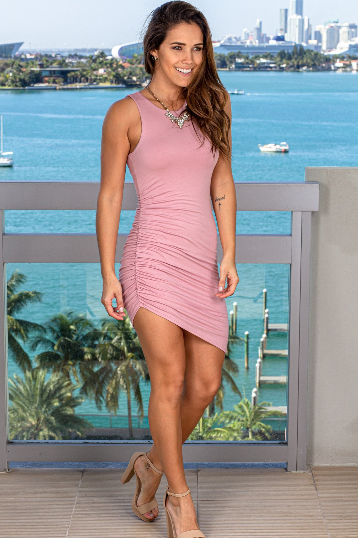 Mauve Ruched Short Dress