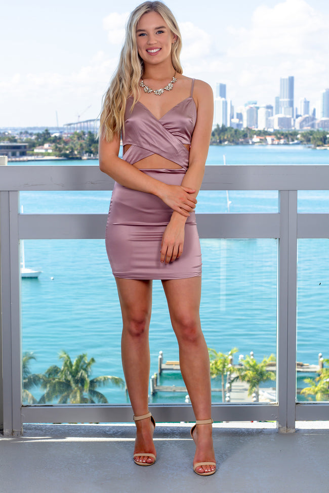 Mauve Satin Short Dress