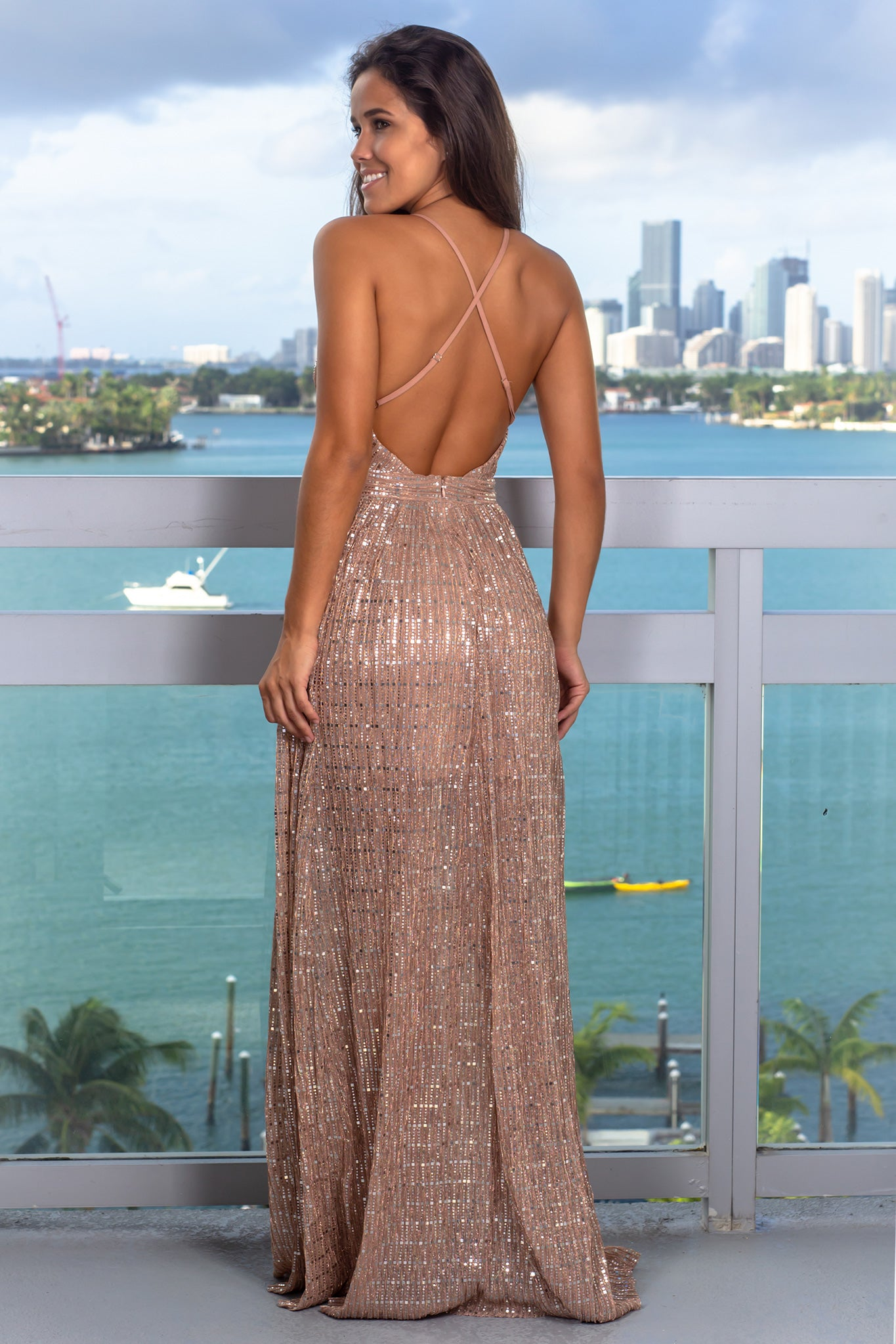 Mauve Sequin Maxi Dress with Criss Cross Back