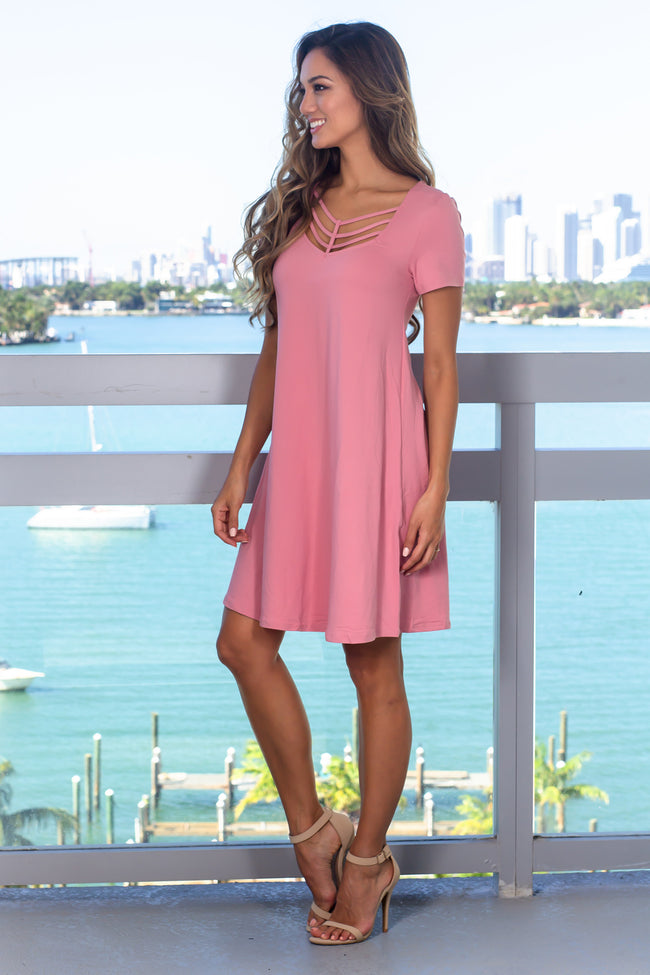 Mauve Short Sleeve Strappy Short Dress
