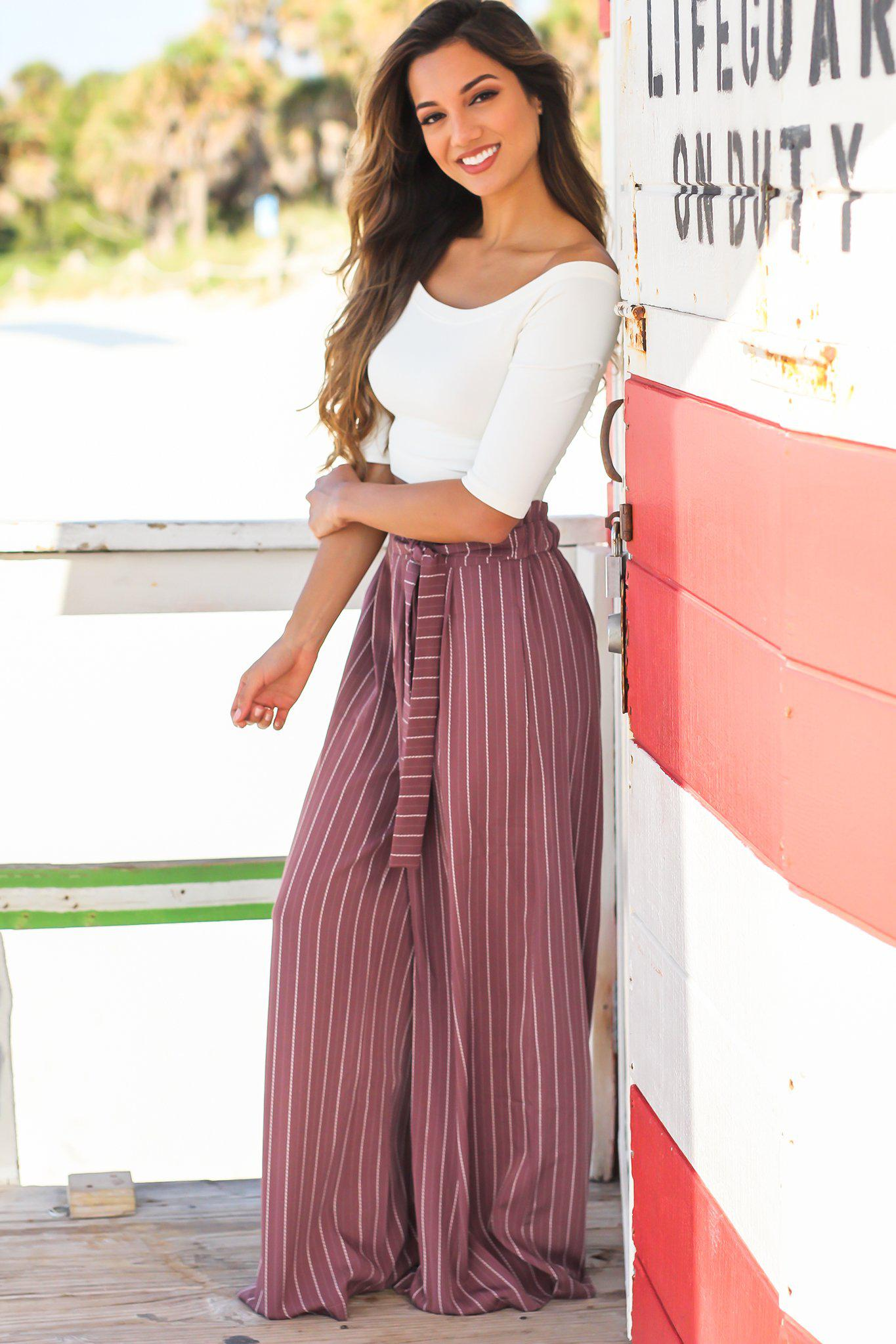 Mauve Striped Wide Legged Pants