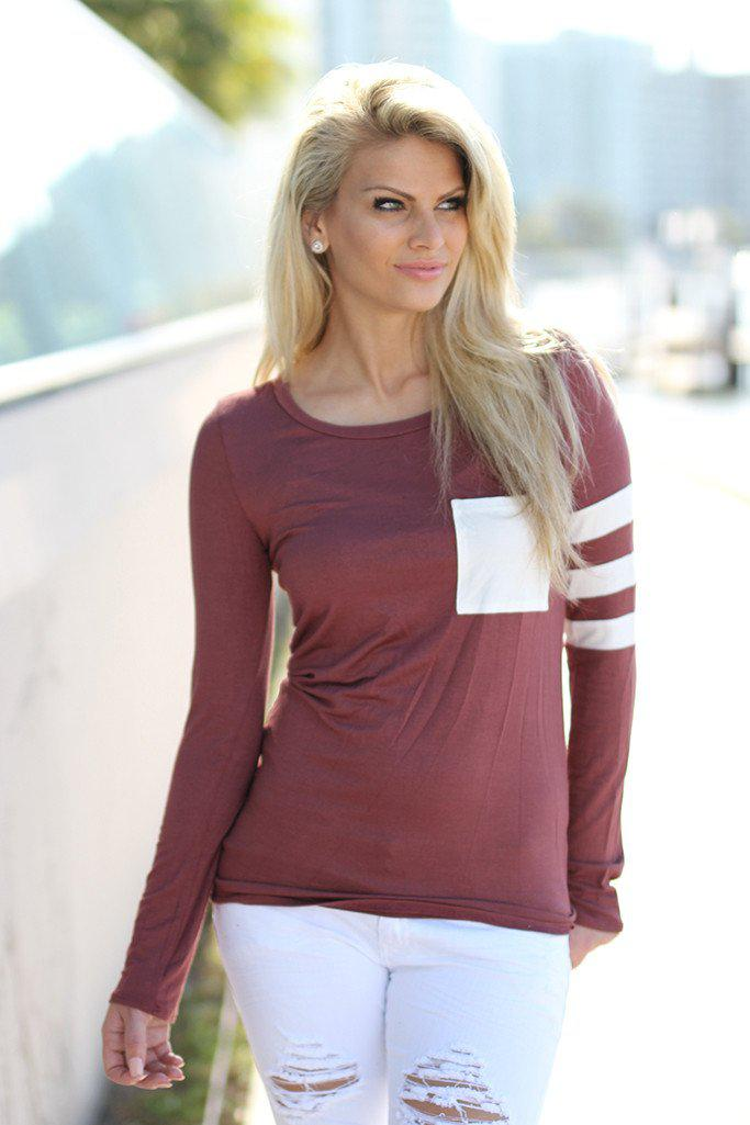 Mauve Top with Pocket