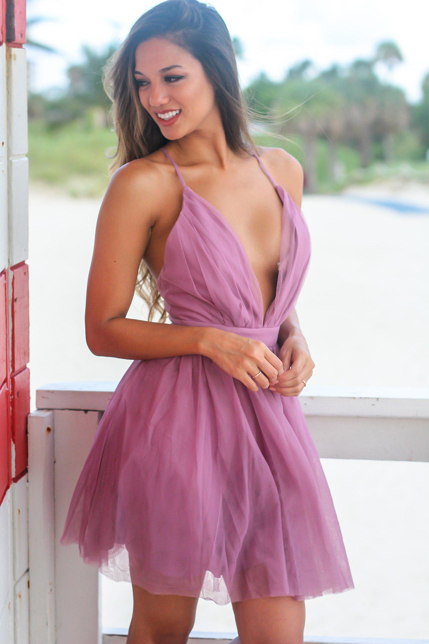 Mauve Tulle Short Dress