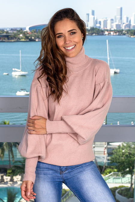 Mauve Turtle Neck Sweater