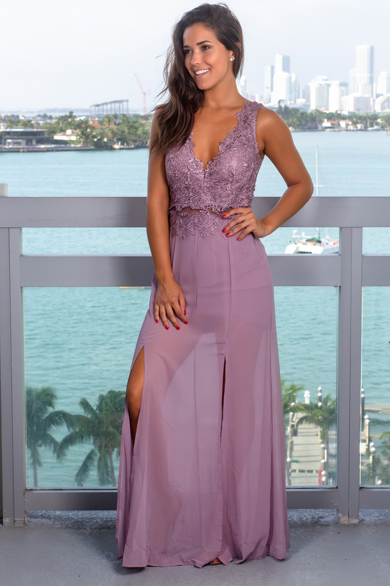 Mauve V-Neck Maxi Dress with Crochet Top