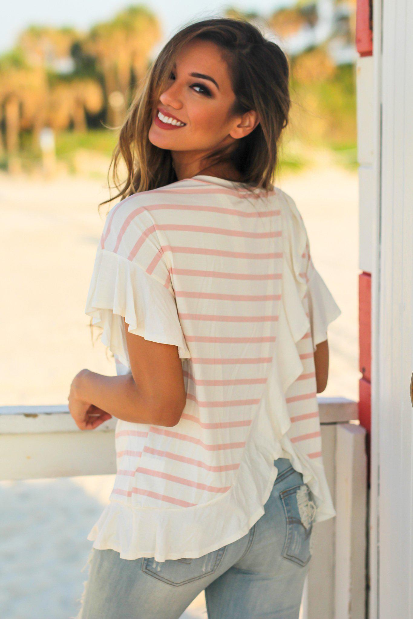 Mauve and Cream Striped Top with Ruffled Bottom