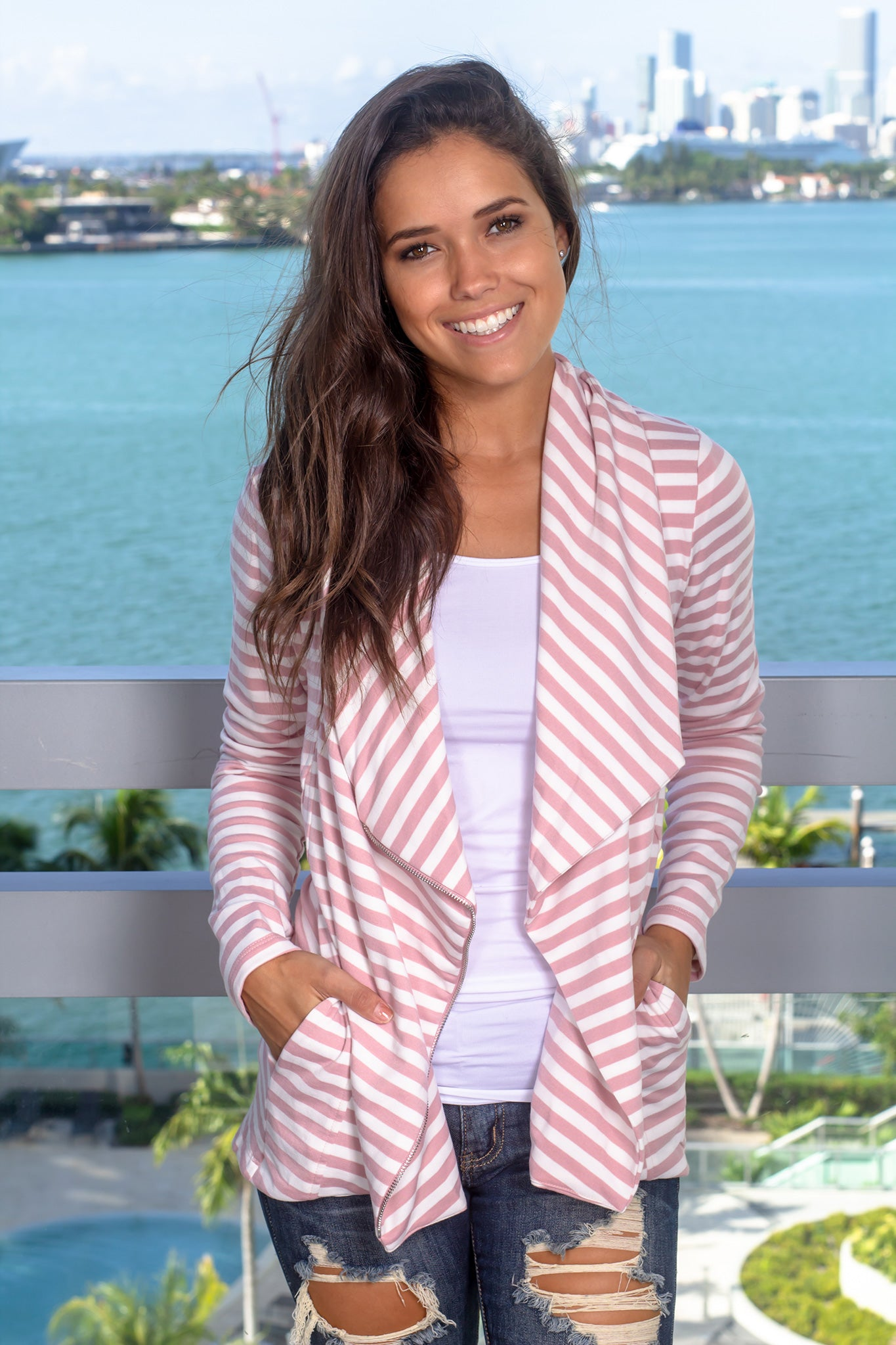 Mauve and Ivory Striped Asymmetrical Jacket with Zipper