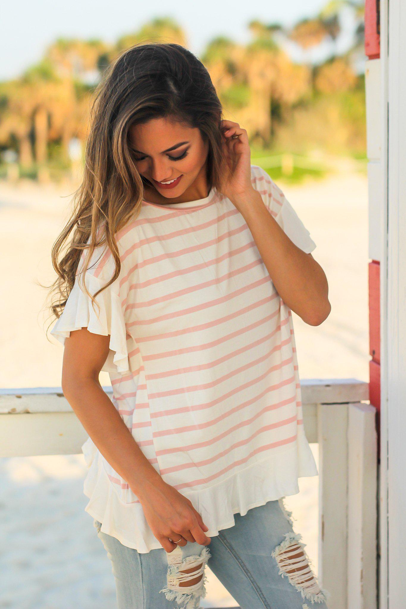 Mauve and White Striped Top with Ruffled Bottom