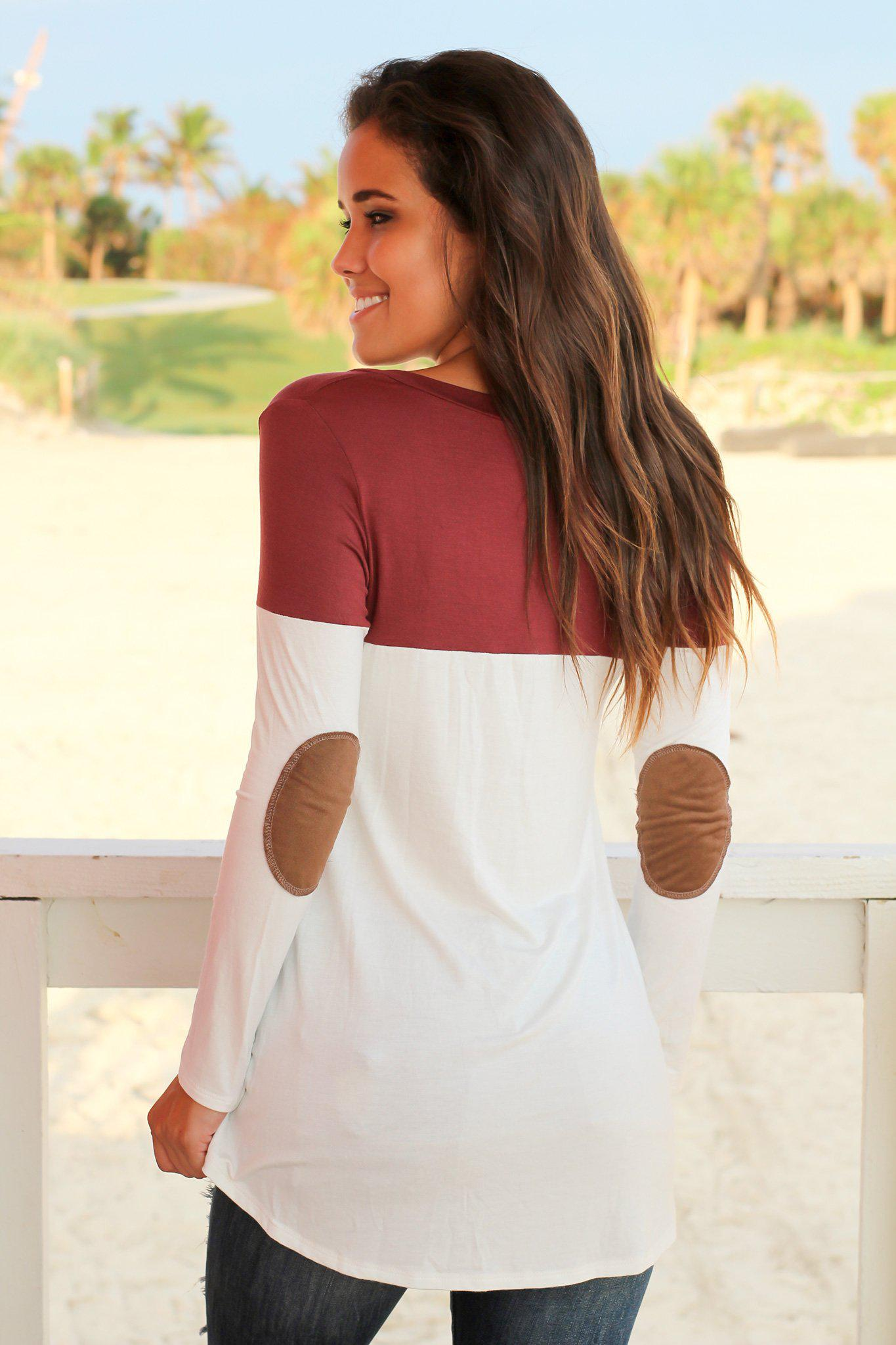Mauve and White Top with Elbow Patches
