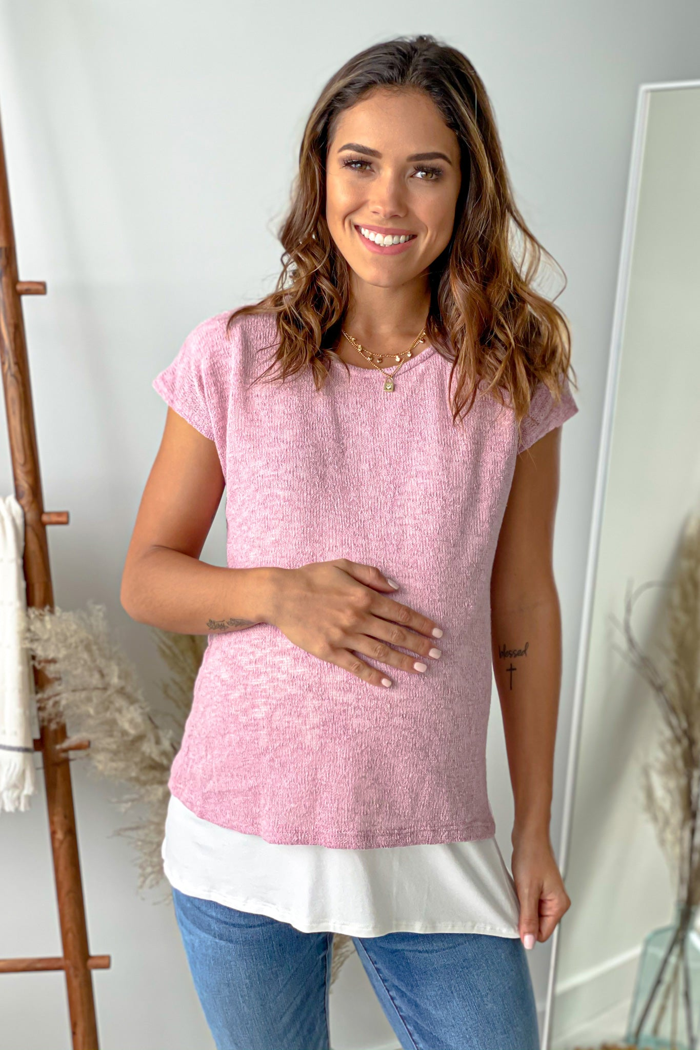 Mauve and Ivory Knit Maternity Top