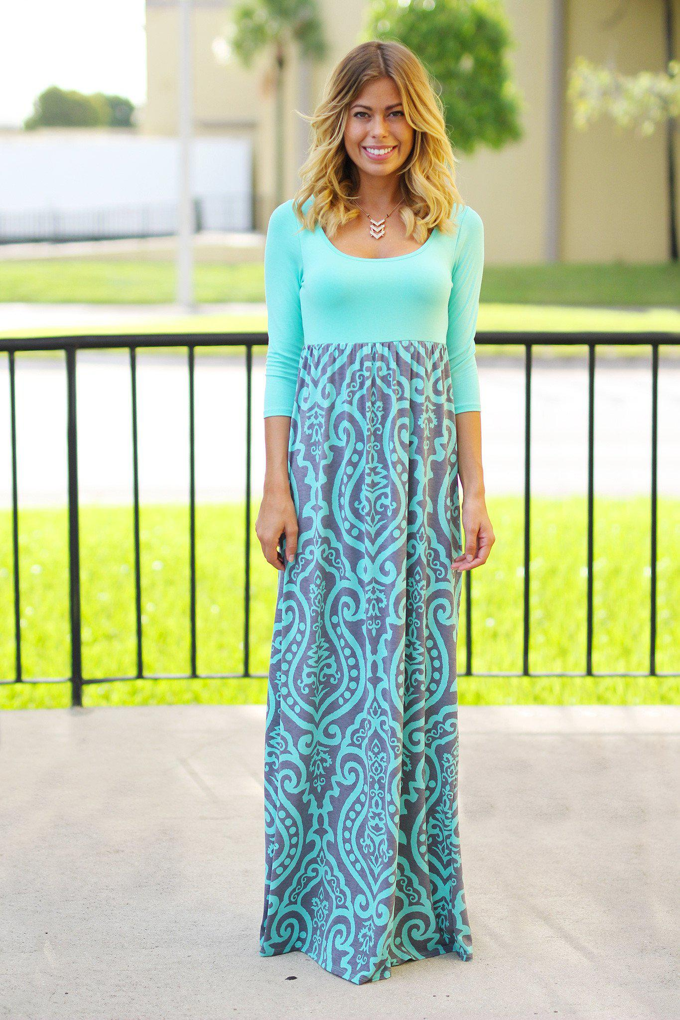 Mint and Gray Printed Maxi Dress