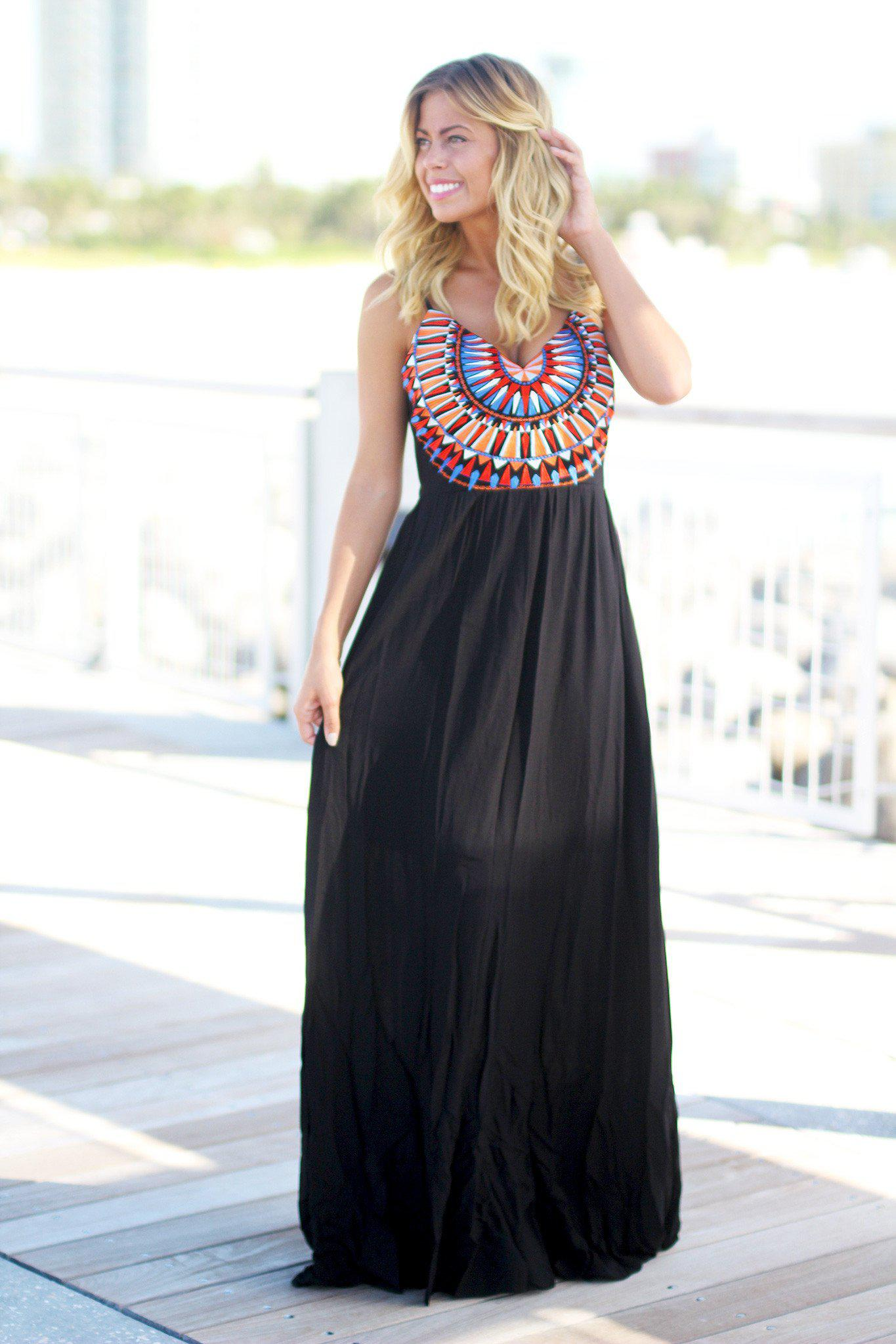 Black Maxi Dress with Embroidered Top