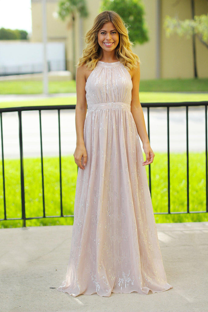 Vintage Rose Maxi Dress with Sequins