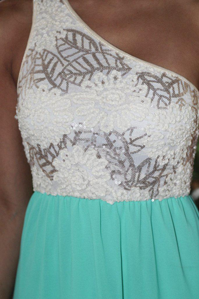 Jade Maxi Dress With Sequin One Shoulder Top