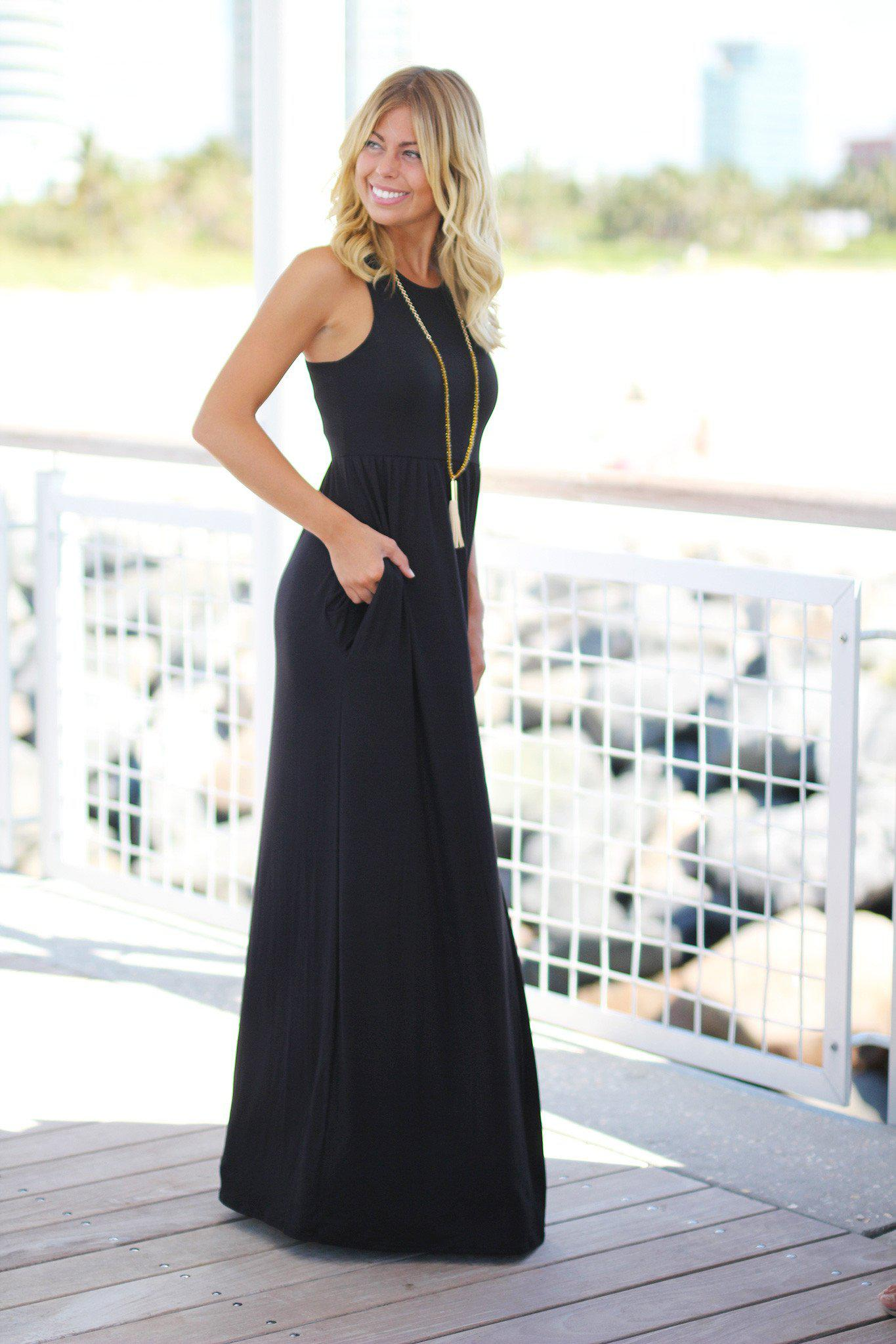 Black Maxi Dress with Pockets
