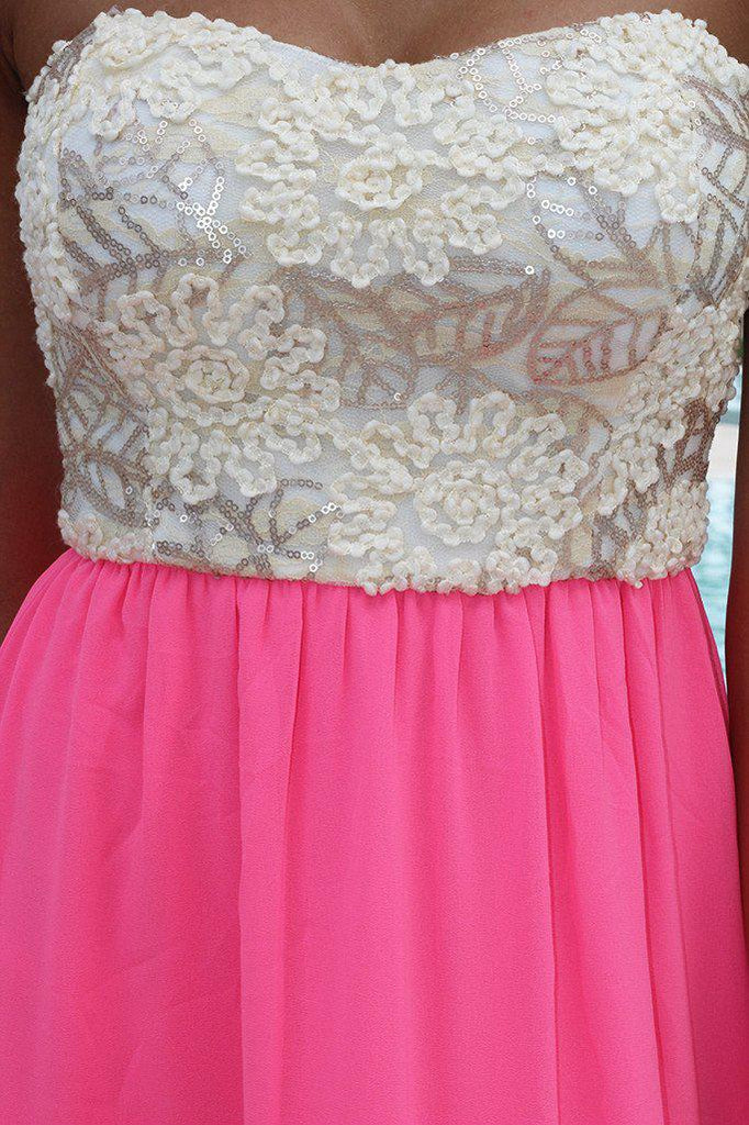 neon pink dress with sequins