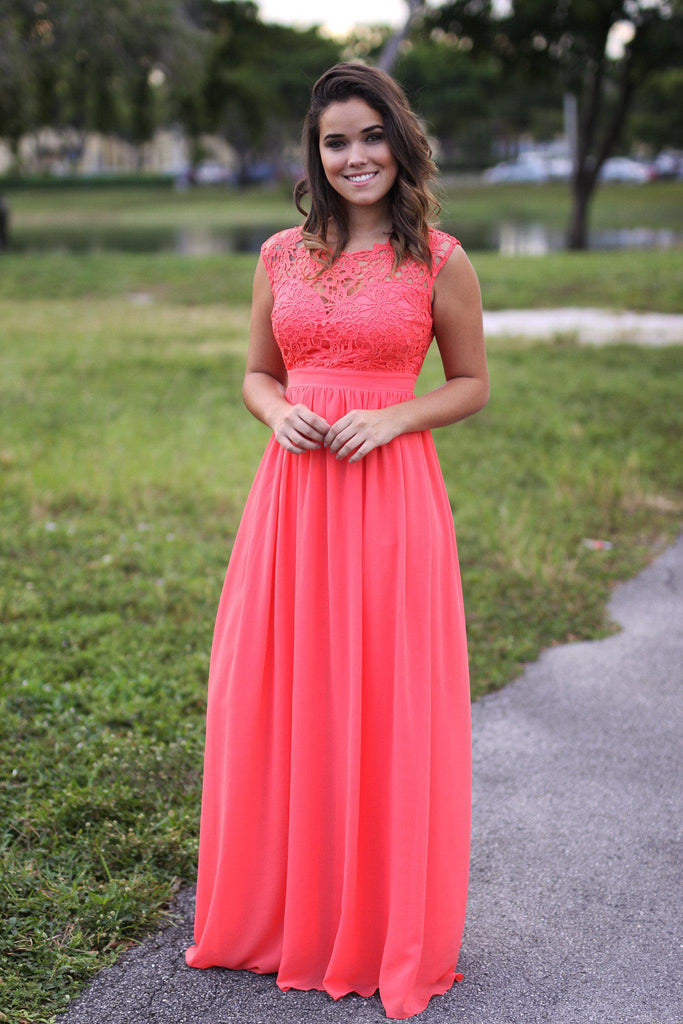 coral crochet maxi dress with tulle back