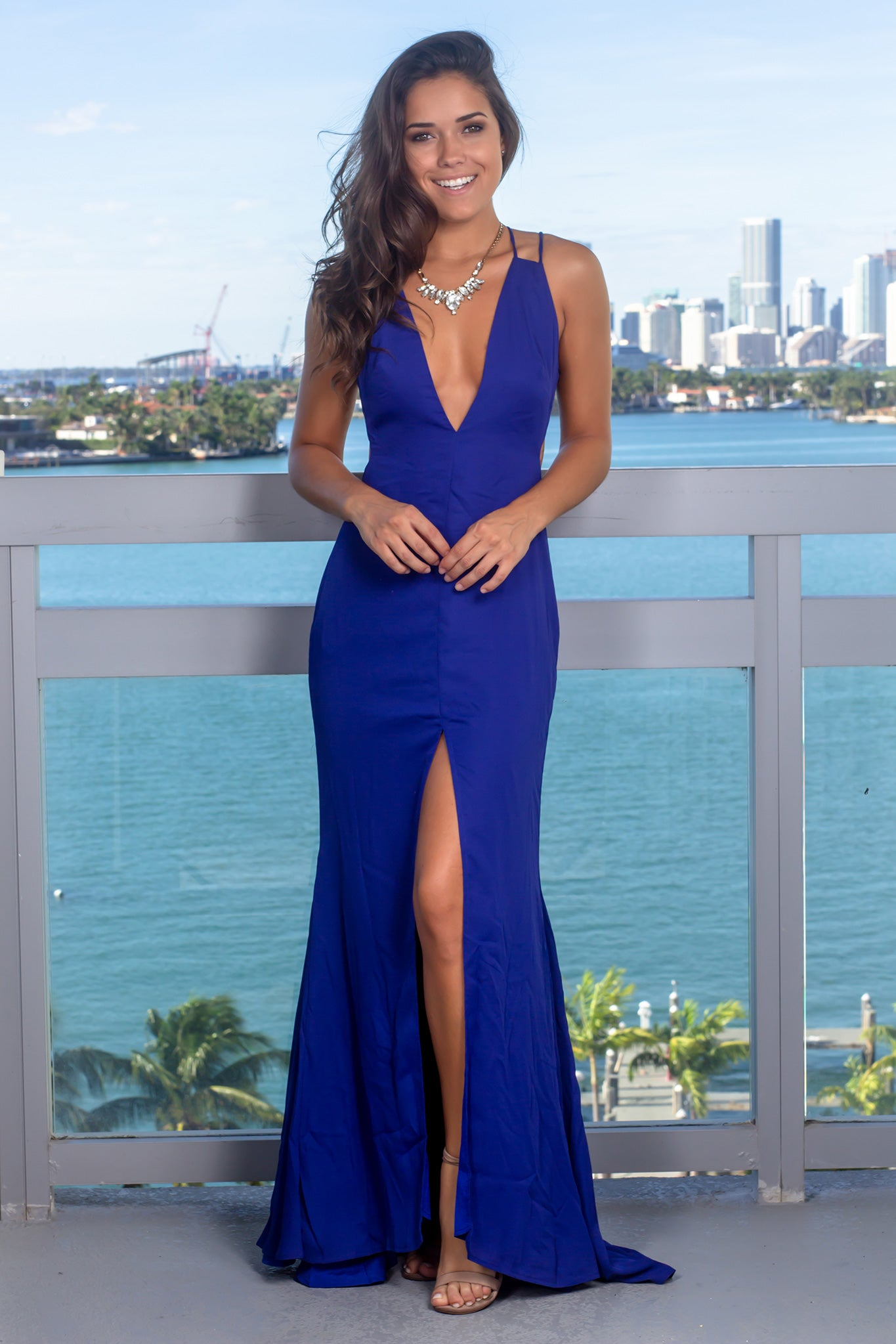 21b9eed39fa Royal Blue V-Neck Maxi Dress with Front Slit | Maxi Dresses – Saved ...