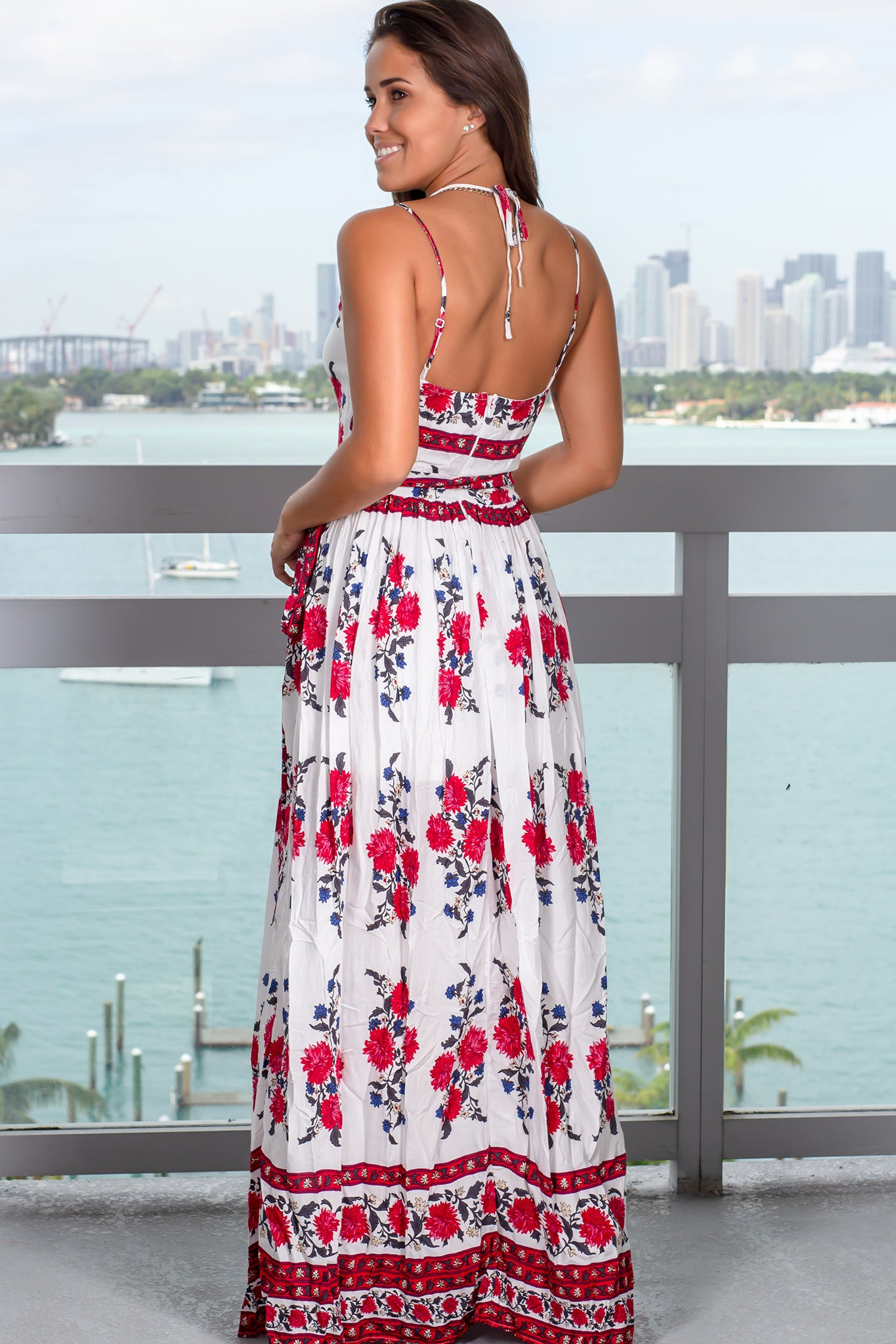3777b7fed5d Ivory Floral Maxi Dress with Tie Waist  Boutiques  Dresses  Maxi Dresses ...