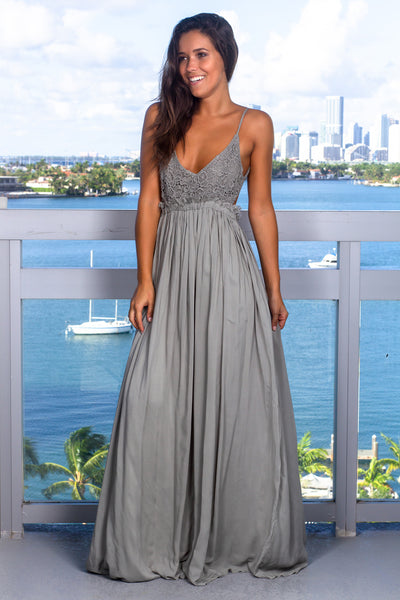 Sage Lace Maxi Dress with Open Back and Frayed Hem