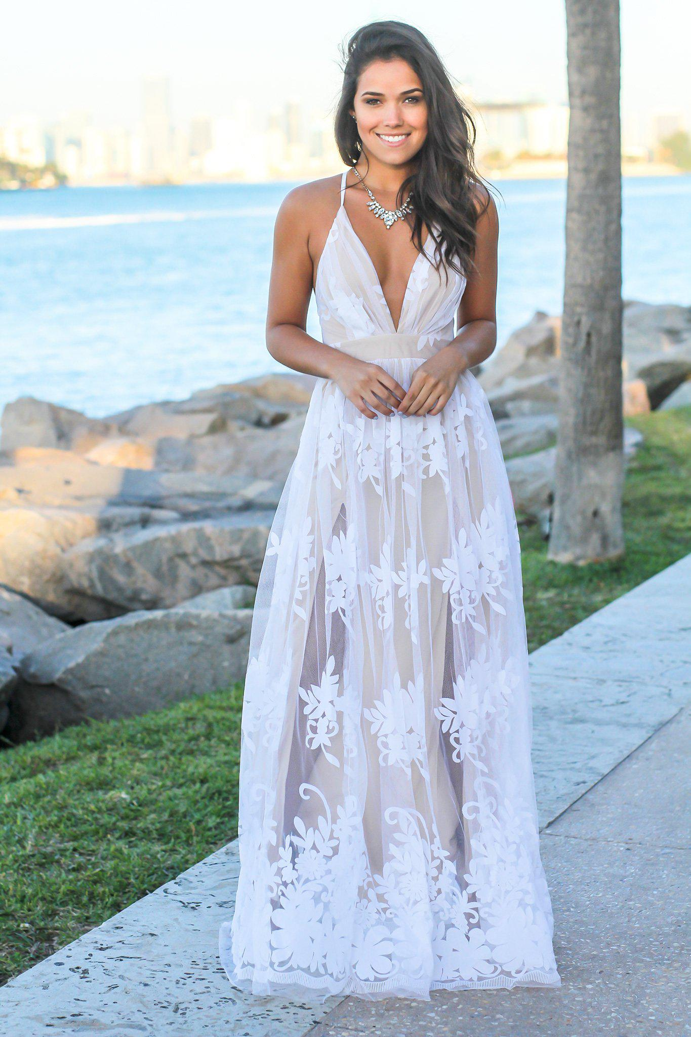 White And Beige Floral Tulle Maxi Dress With Criss Cross Back Maxi Dresses Saved By The Dress,Islamic Wedding Dresses For Sale In India
