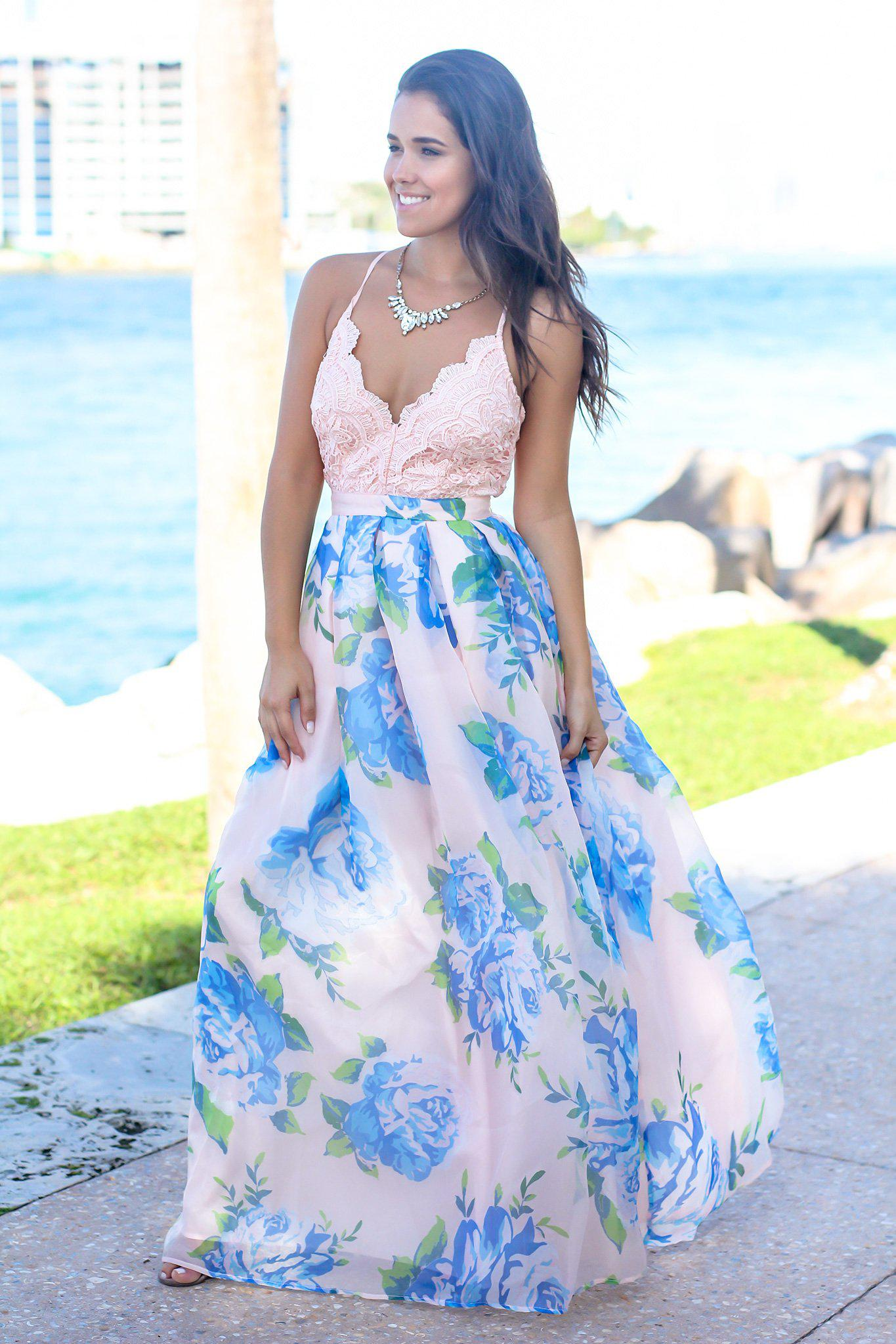 dbba7674cabd0 Pink and Blue Floral Maxi Dress with Crochet Top