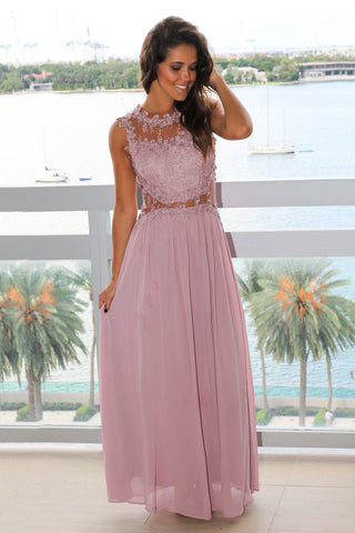Mauve Lace Top Maxi Dress