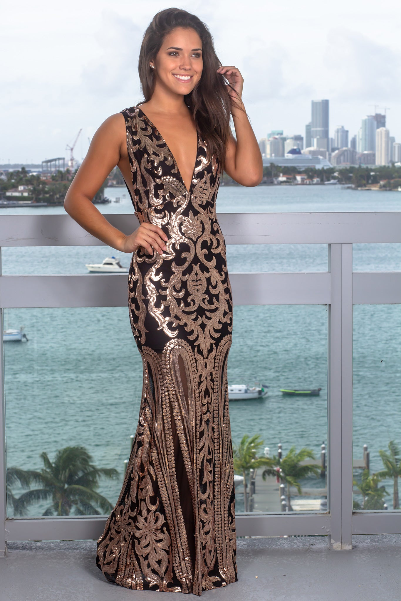 022551f6ce Black And Gold Sequin Maxi Dress