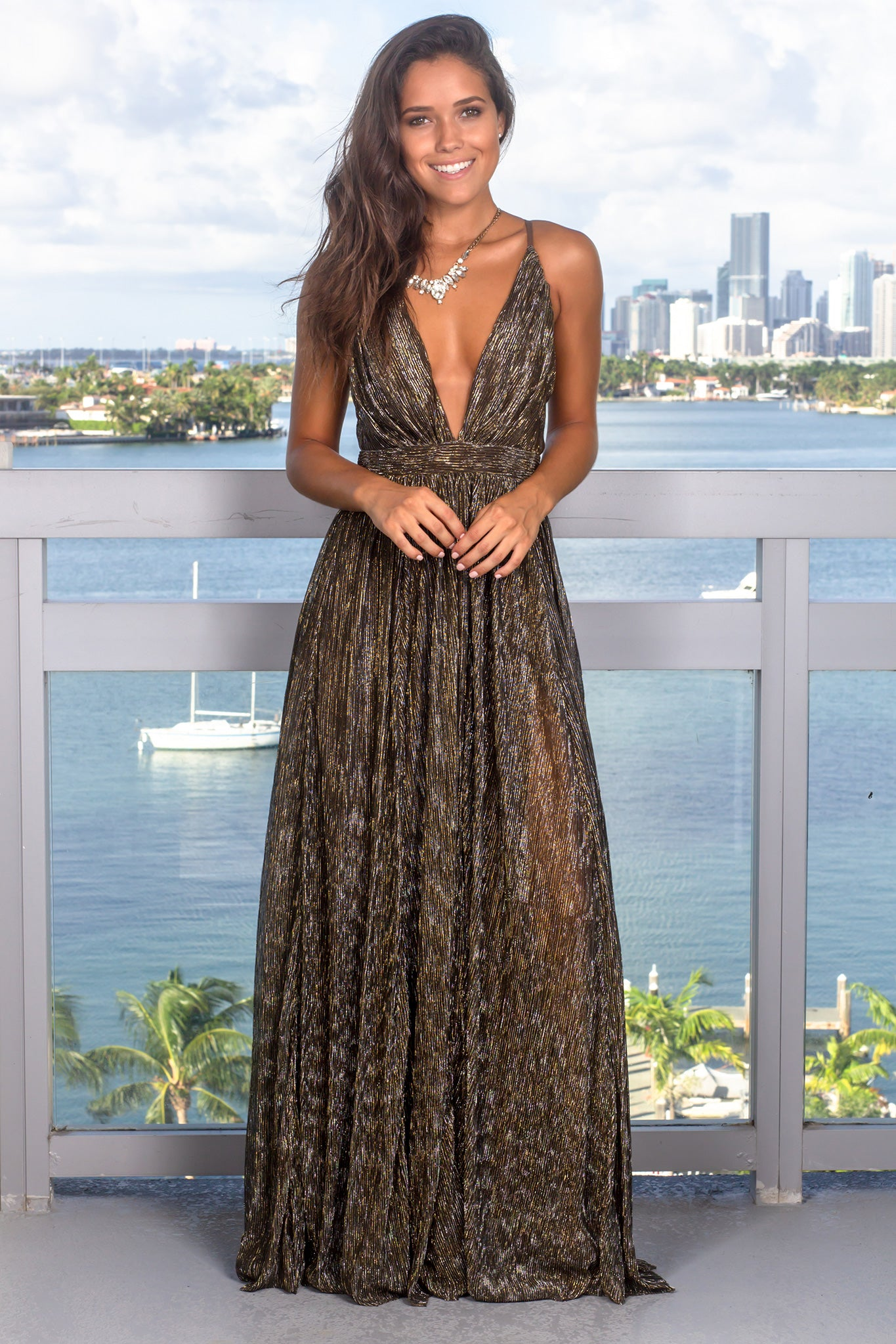 417e312b111 Black and Gold Maxi Dress with Shimmer Detail
