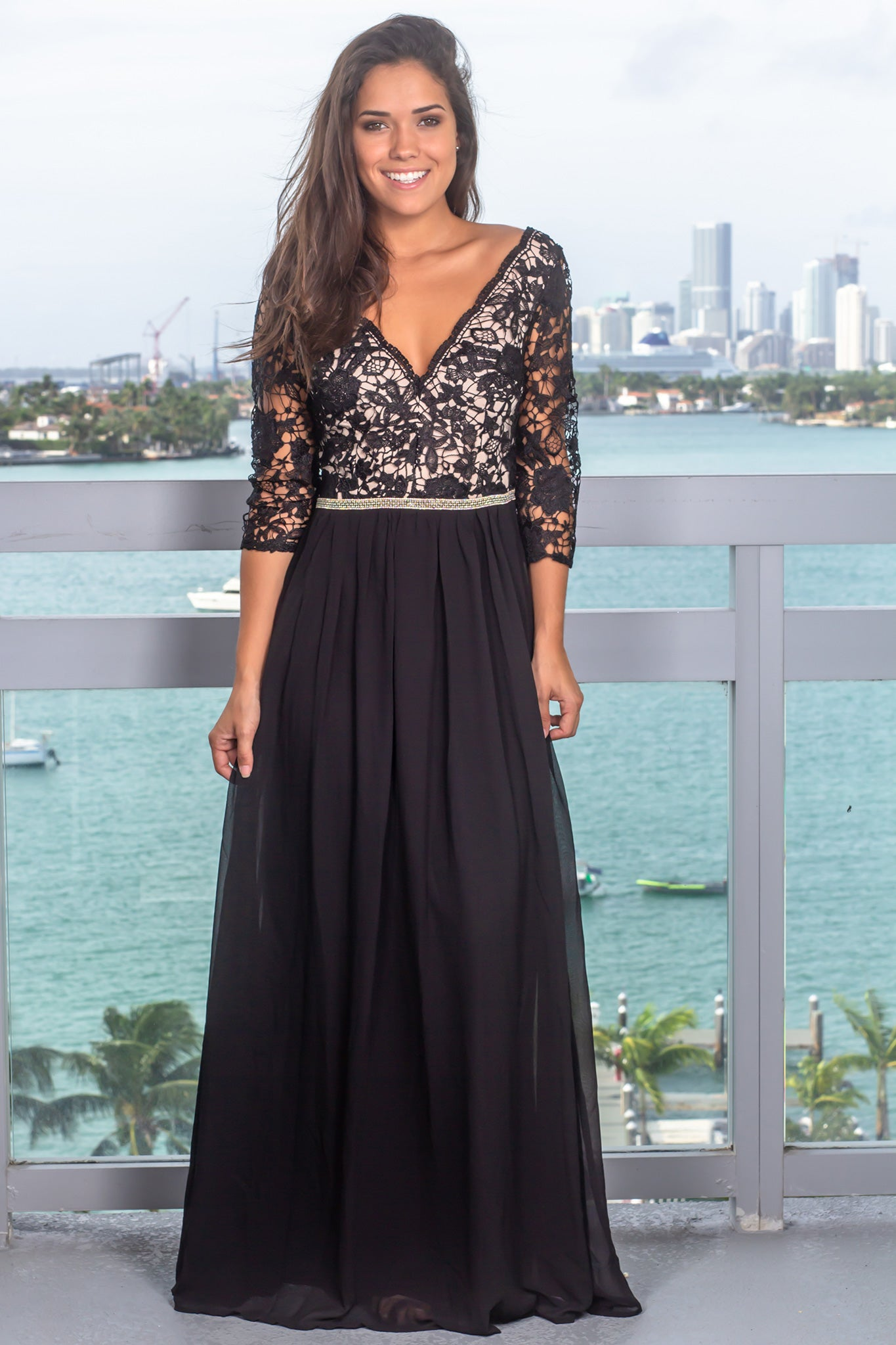 5fb51f1e5fb378 Black V-Neck Embroidered Top Maxi Dress with 3 4 Sleeves